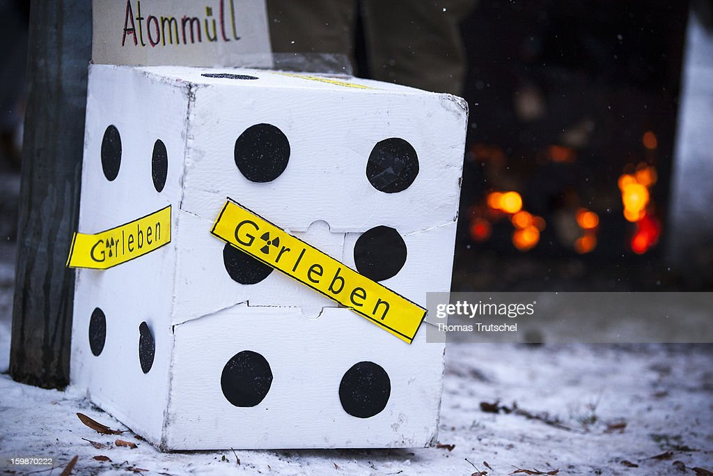 A cube with the inscription - Gorleben - was built by a protester in order to protest against the interim storage facility for nuclear waste in the city of Gorleben on January 21, 2013 in Luechow. People in the Wendland Region fight many years against Gorleben as a position for the nuclear waste of german nuclear power stations.