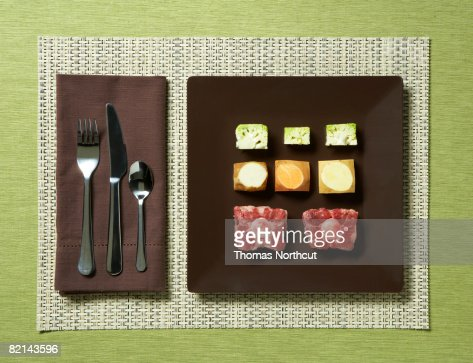 cubed raw food on a plate