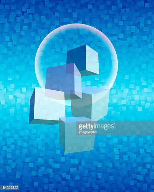 Cubes and bubble with blue checked background,