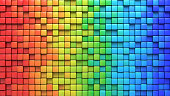 Cubes in colorful wall. Computer generated abstract background. Geometric 3D rendering