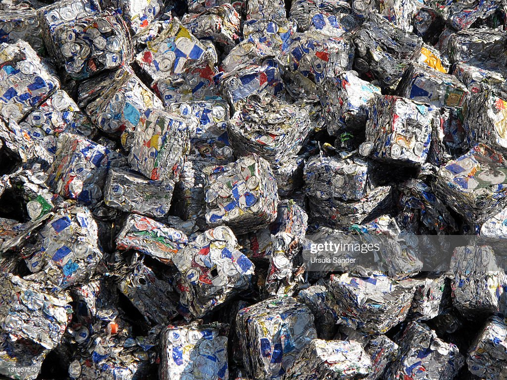 Cubes of Tin Cans in Stuttgart, German : Stock Photo