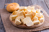 Cubes turnips on a chopping board