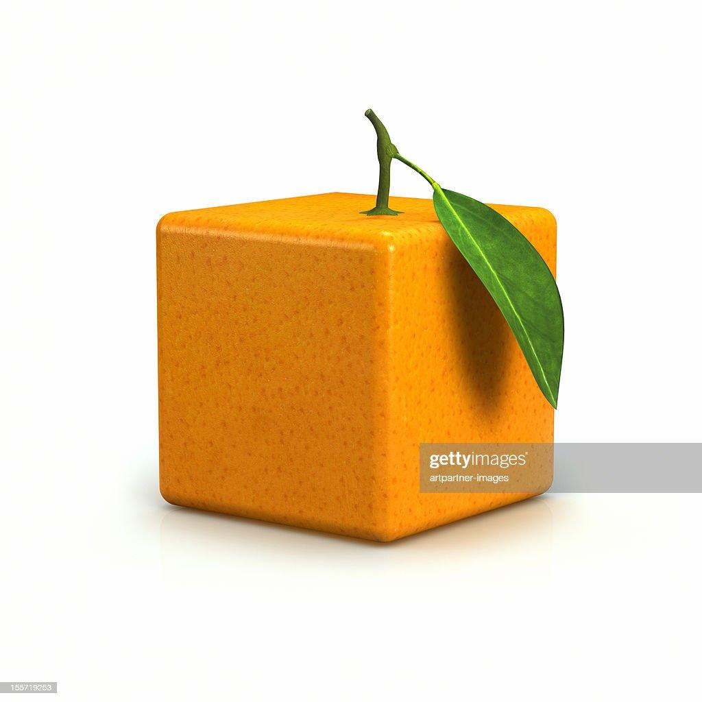 Cubic or quadrangular orange on a white background : Stock Photo