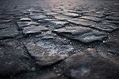 Cubic stone road close up scene