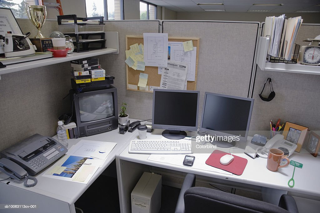 Cubicle, elevated view : Stock Photo