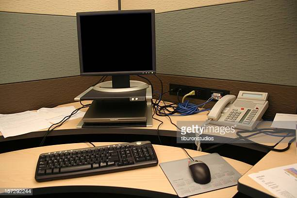 Cubicle Life: Desk, Computer & Phone - Blank Monitor