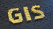 Geographical information system. Acronym GIS of the yellow square pixels on a black matrix background. 3D illustration image