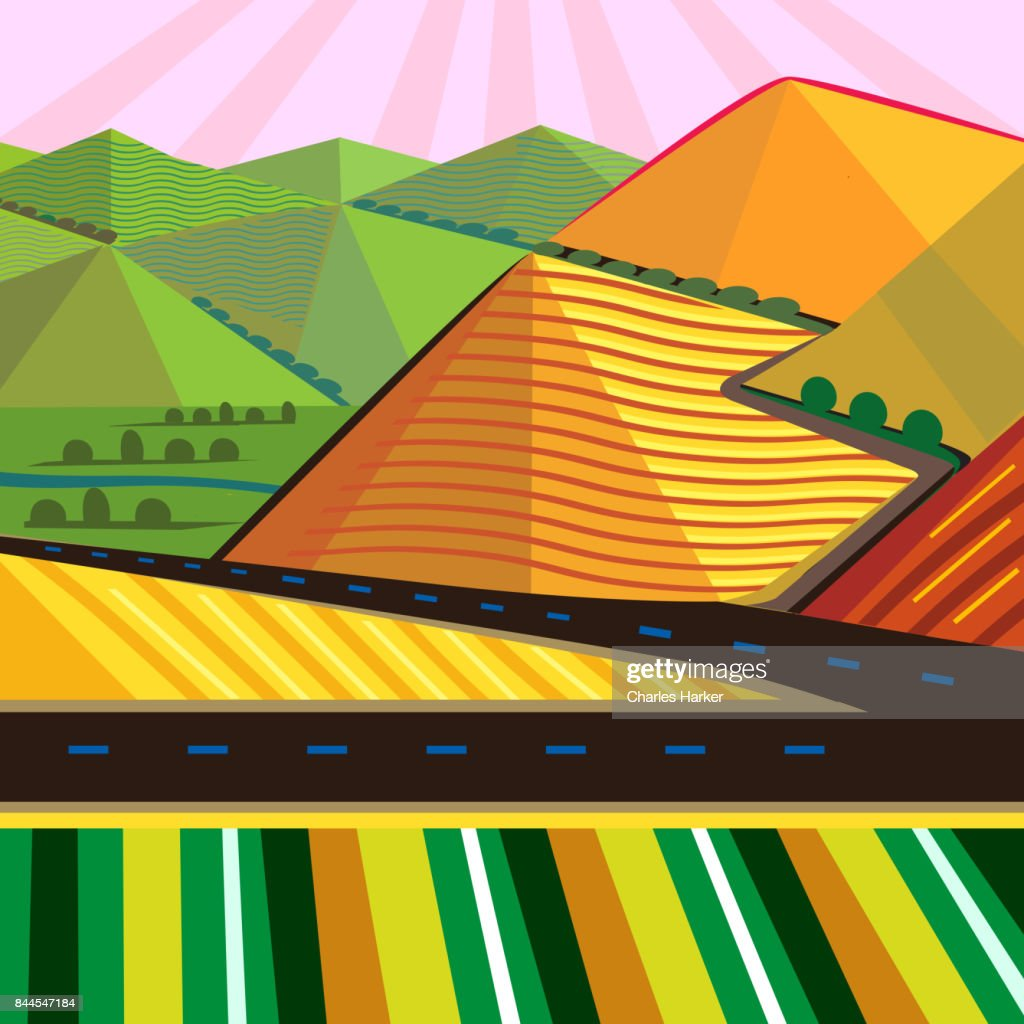 Cubist Mountain Landscape with vivid colors in Square Format : Stock Photo