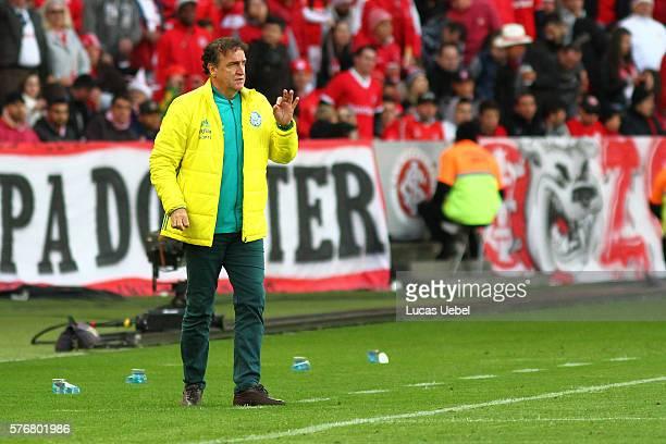 Cuca coach of Palmeiras during the match between Internacional and Palmeiras as part of Brasileirao Series A 2016 at Estadio BeiraRio on July 17 in...