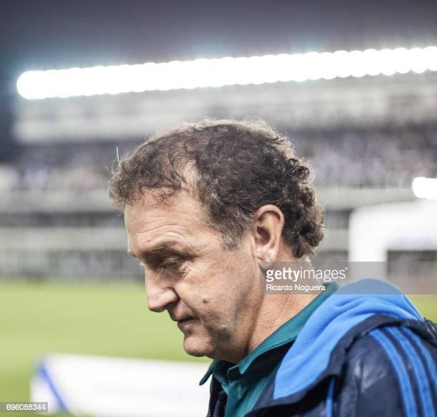 Cuca headcoach of Palmeiras before the match between Santos and Palmeiras as a part of Campeonato Brasileiro 2017 at Vila Belmiro Stadium on June 14...