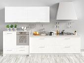 Cucina nuova bianca laccata con arredamento