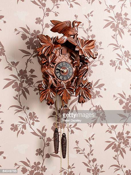 Cuckcoo clock on wall papered wall