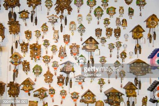 Cuckoo clocks on wall