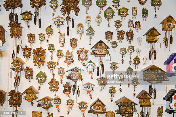 Cuckoo clocks on wall
