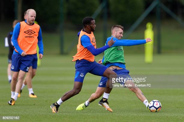 Cuco Martina and Morgan Schneiderlin challenge for the ball during the Everton FC training session at USM Finch Farm on August 10 2017 in Halewood...