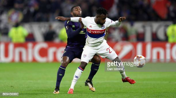 Cuco Martina of Everton and Maxwel Cornet of Lyon battle for possession during the UEFA Europa League group E match between Olympique Lyon and...