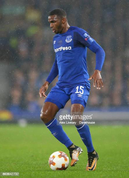 Cuco Martina of Everton FC controls the ball during the UEFA Europa League group E match between Everton FC and Olympique Lyon at Goodison Park on...
