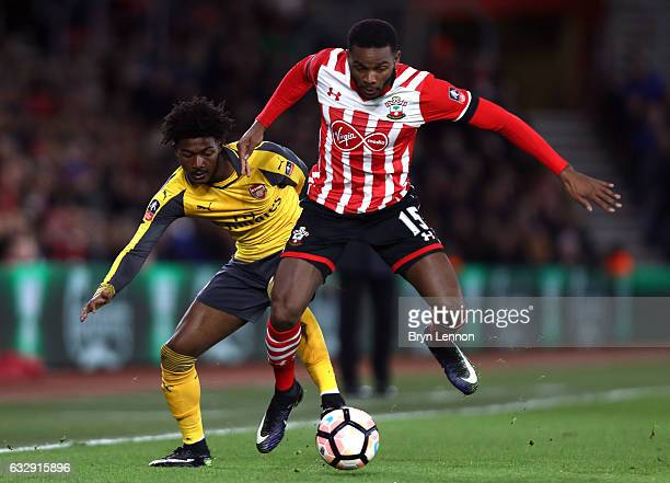 Cuco Martina of Southampton and Ainsley MaitlandNiles of Arsenal in action during the Emirates FA Cup Fourth Round match between Southampton and...