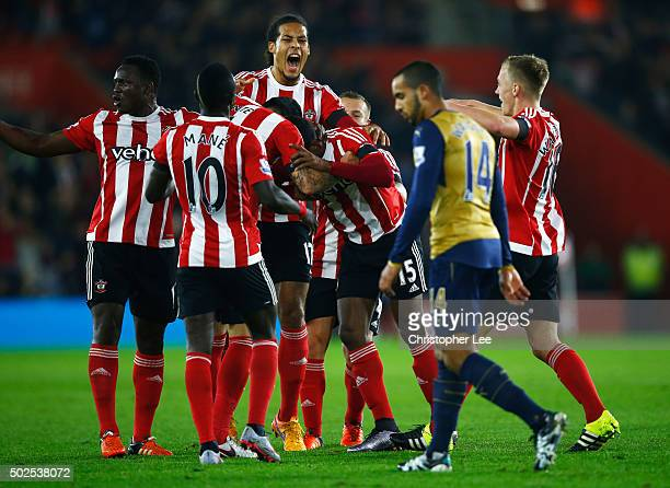 Cuco Martina of Southampton celebrates with team mates as he scores their first goal with a long range shot during the Barclays Premier League match...
