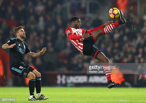 Cuco Martina of Southampton clears the ball during the Premier League match between Southampton and West Bromwich Albion at St Mary's Stadium on...