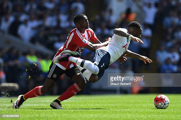 Cuco Martina of Southampton makes a tackle on Danny Rose of Tottenham Hotspur during the Barclays Premier League match between Tottenham Hotspur and...