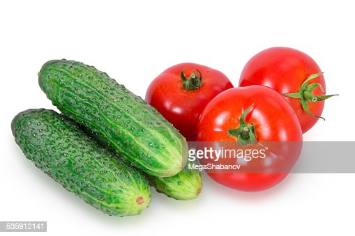 Cucumbe three and three tomatoes : Stock Photo