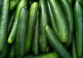 Cucumber Raw fruit and vegetable backgrounds overhead perspective, part of a set collection of healthy organic fresh produce