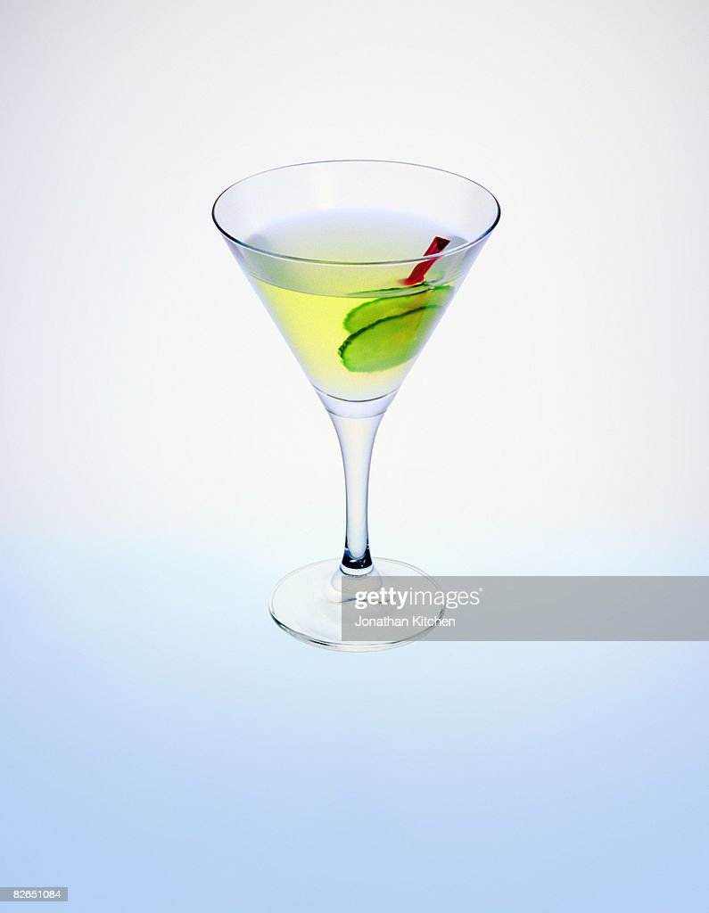 Cucumber Gimlet cocktail in a martini glass : Stock Photo