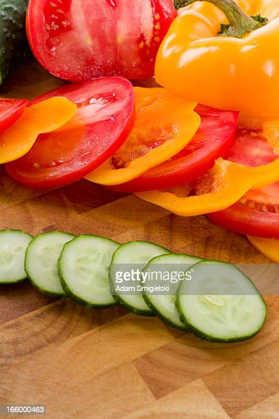 cucumber, pepper and tomato