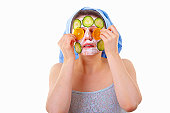 Cucumber slices face mask