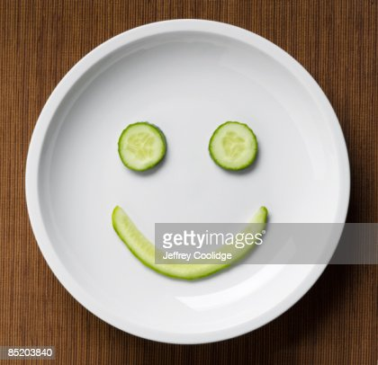 Cucumber Smiley Face : Stock Photo