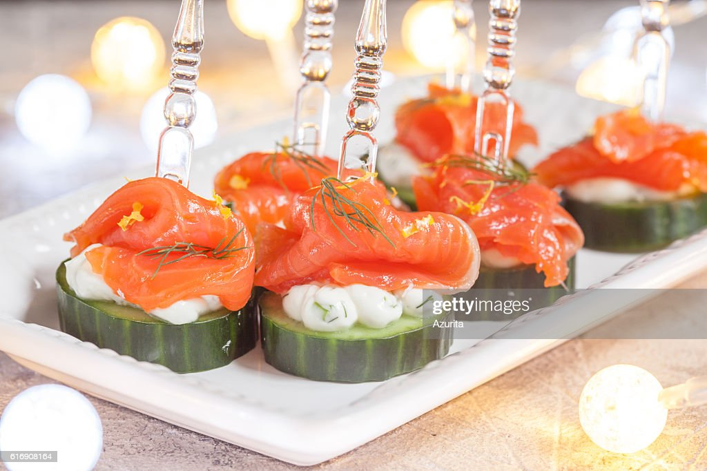 cucumber with dill cream cheese and smoked salmon appetizer : Stock Photo