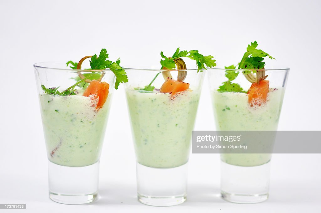 cucumber yoghurt soup shooters : Stock Photo