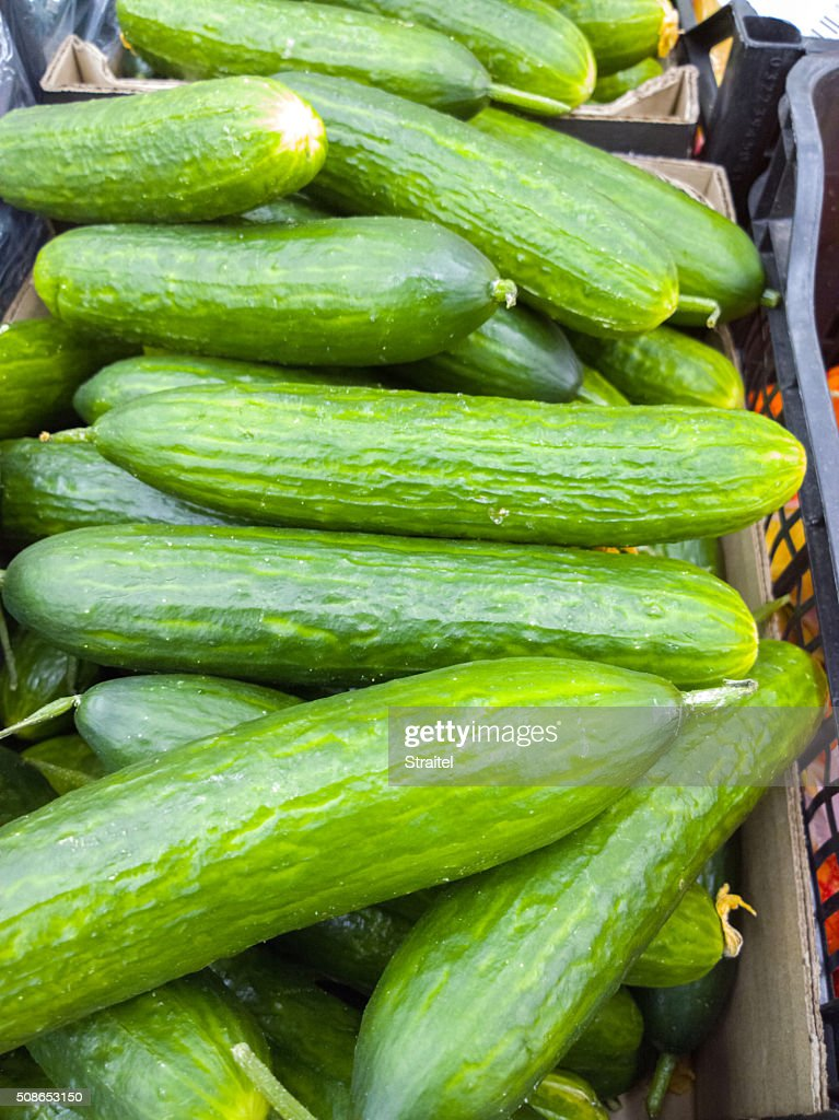 Cucumbers in a supermarket. : Stock Photo