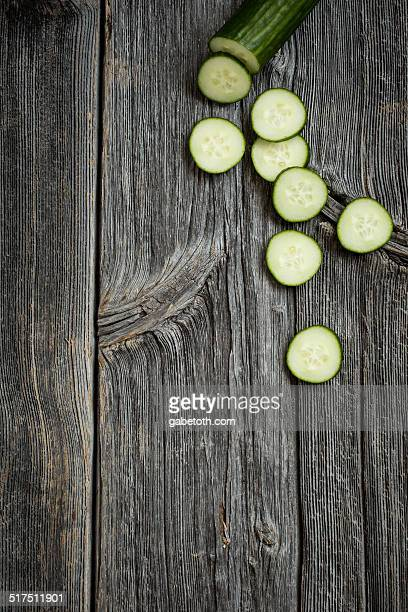 Cucumbers on Wooden Surface