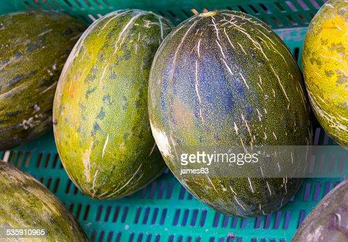 melo Cucumis caixa de melões : Foto de stock