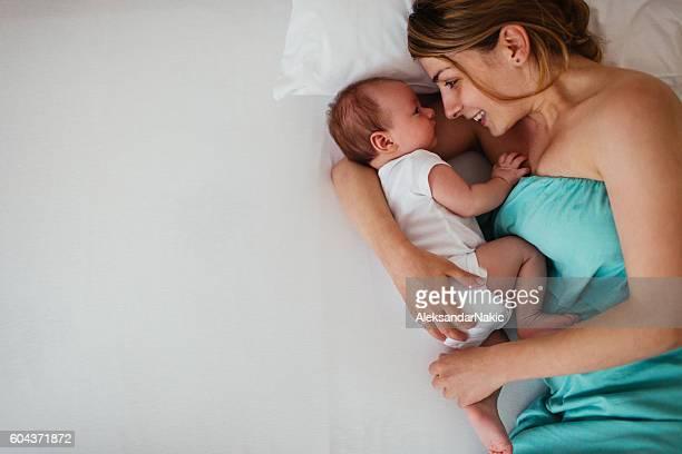 Cuddling with my mom