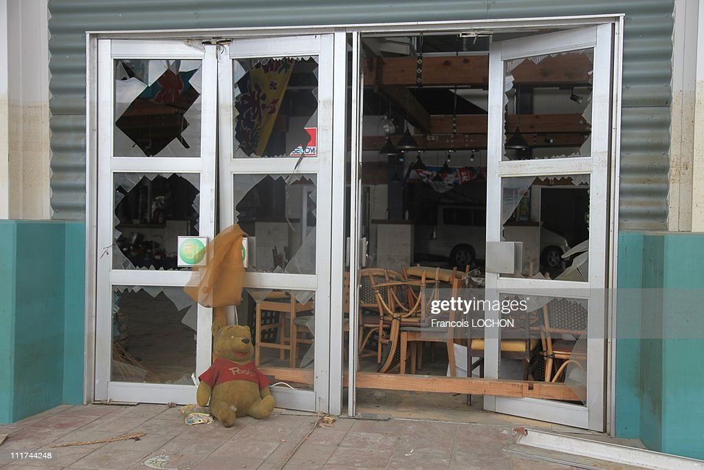 A cuddly toy is left by patio doors destroyed by the earthquake on April 4,2011, in Kamaishi,Japan. These objects are from the 30 000 victims of the earthquake that hit Japan on March 11, 2011 followed by an tsunami.