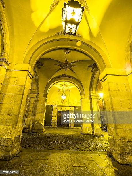Cuenca is a UNESCO World Heritage site, Detail of the arches and doors of access to the town hall