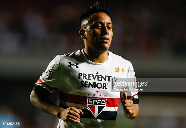 Cueva of Sao Paulo celebrates their first goal during the match between Sao Paulo and Corinthians for the Brazilian Series A 2016 at Mrumbi stadium...