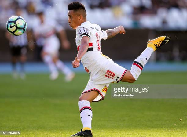 Cueva of Sao Paulo kicks the ball during a match between Botafogo and Sao Paulo as part of Brasileirao Series A 2017 at Nilton Santos Stadium on July...