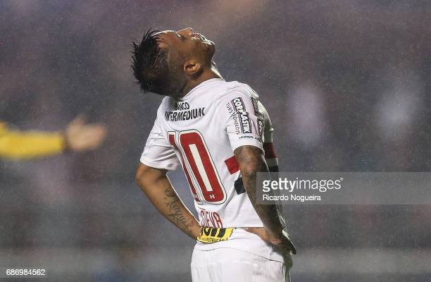 Cueva of Sao Paulo reacts after missing a goal during a match between Sao Paulo and Avai as a part of Campeonato Brasileiro 2017 at Morumbi Stadium...