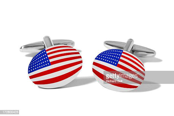 Cufflinks with the design of the US flag
