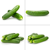 collection of small cucumber isolated on the white background