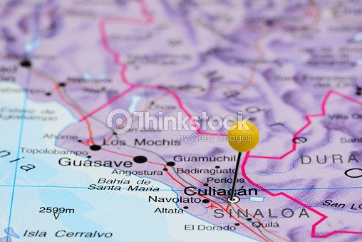 Culiacan Pinned On A Map Of Mexico Stock Photo Thinkstock