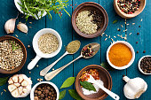 culinary background with spices on wooden tableculinary background with spices on wooden table