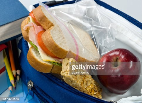 Culinary close up of a packed school lunch