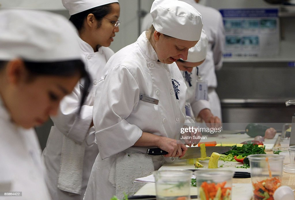 Culinary student Joanna Terry cuts vegetables during a butchery class at the Le Cordon Bleu program at California Culinary Academy April 8, 2009 in San Francisco, California. Popularity of food shows and an increase in concern over food safety has many people considering a career in the food industry which offers a broad range of jobs from food critics to chefs. In 2008, the Institute of Culinary Education saw a 12 percent increase in enrollment inquiries.