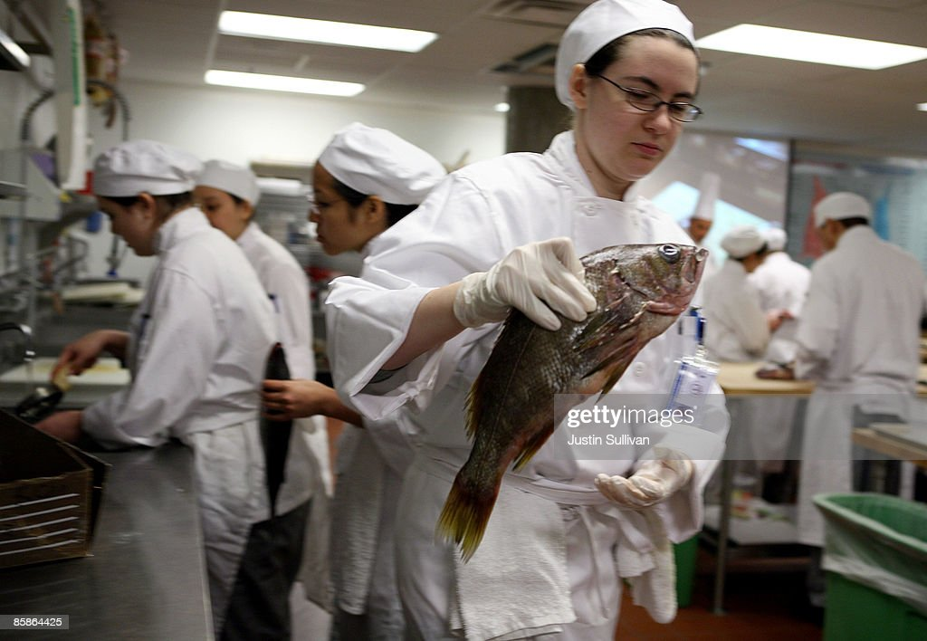 Culinary student Maria Bichinsky carries a fish to her workstation during a butchery class at the Le Cordon Bleu program at California Culinary Academy April 8, 2009 in San Francisco, California. Popularity of food shows and an increase in concern over food safety has many people considering a career in the food industry which offers a broad range of jobs from food critics to chefs. In 2008, the Institute of Culinary Education saw a 12 percent increase in enrollment inquiries.