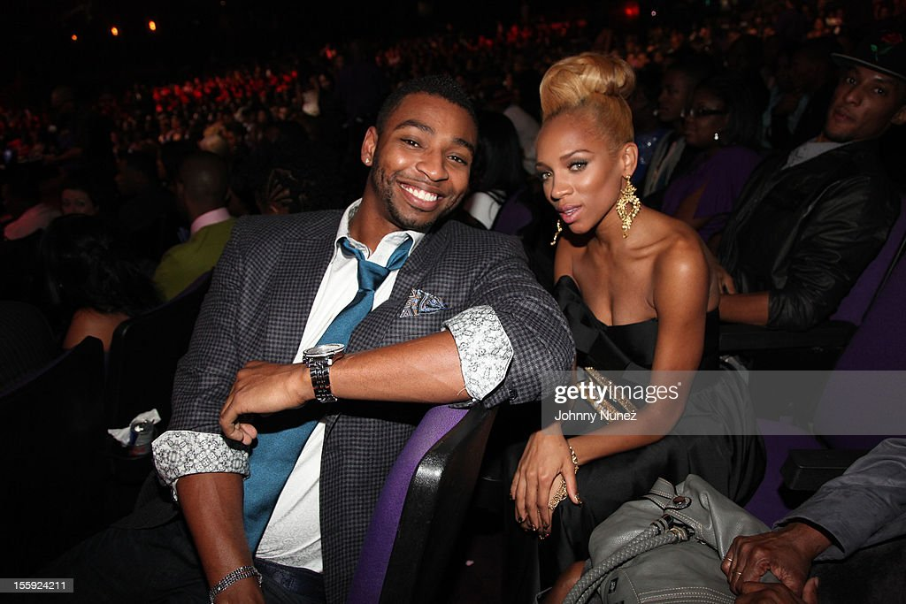 Cullen Jones and Lil Mama attend the Soul Train Awards 2012 at Planet Hollywood Casino Resort on November 8, 2012 in Las Vegas, Nevada.